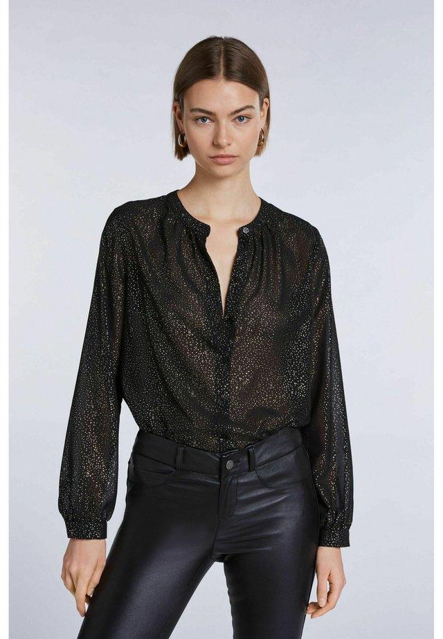 Button-down blouse - black camel