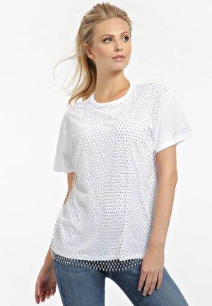 NETZEINSATZ - Print T-shirt - weiß