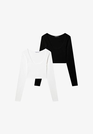 TWO-PACK - Long sleeved top - black/white