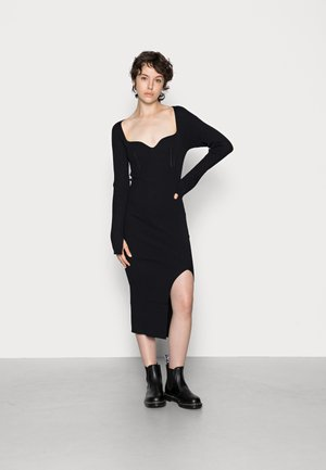 FIONA  DRESS - Strikket kjole - black