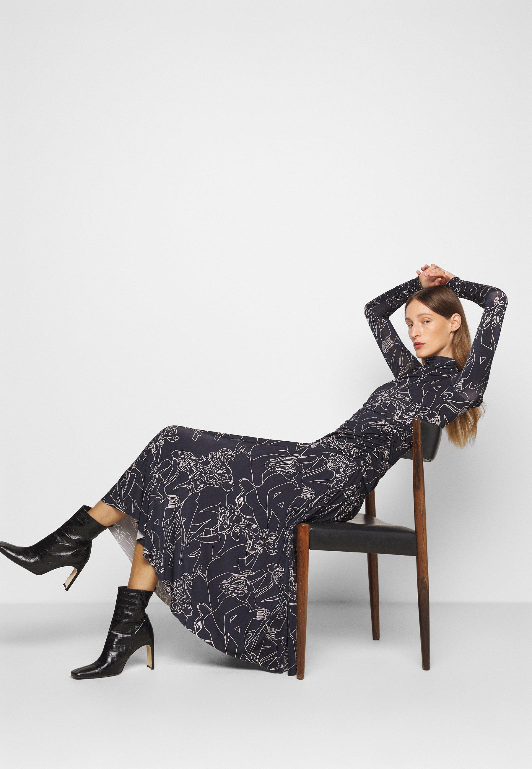 Victoria Victoria Beckham PRINTED PLEATED DRESS Jerseykleid midnight blue/dunkelblau