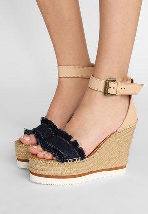 High heeled sandals - denim