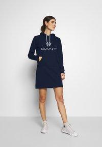 GANT - LOCK UP HOODIE DRESS - Robe d'été - evening blue - 1