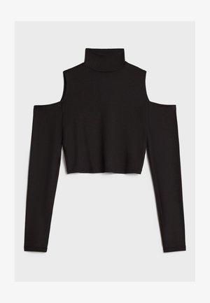 MIT SCHLITZ UND ROLLKRAGEN - Pitkähihainen paita - black