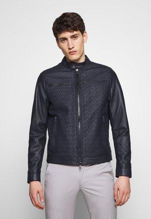 QUILTED LOGO RACER - Leather jacket - dark midnight