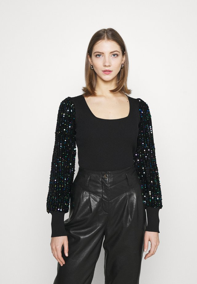 SEQUIN SLEEVE - Maglione - black