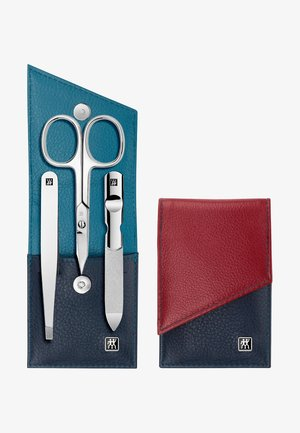 SNAP FASTENER CASE IN CALF LEATHER 3 PIECES - Nail set - blue/red