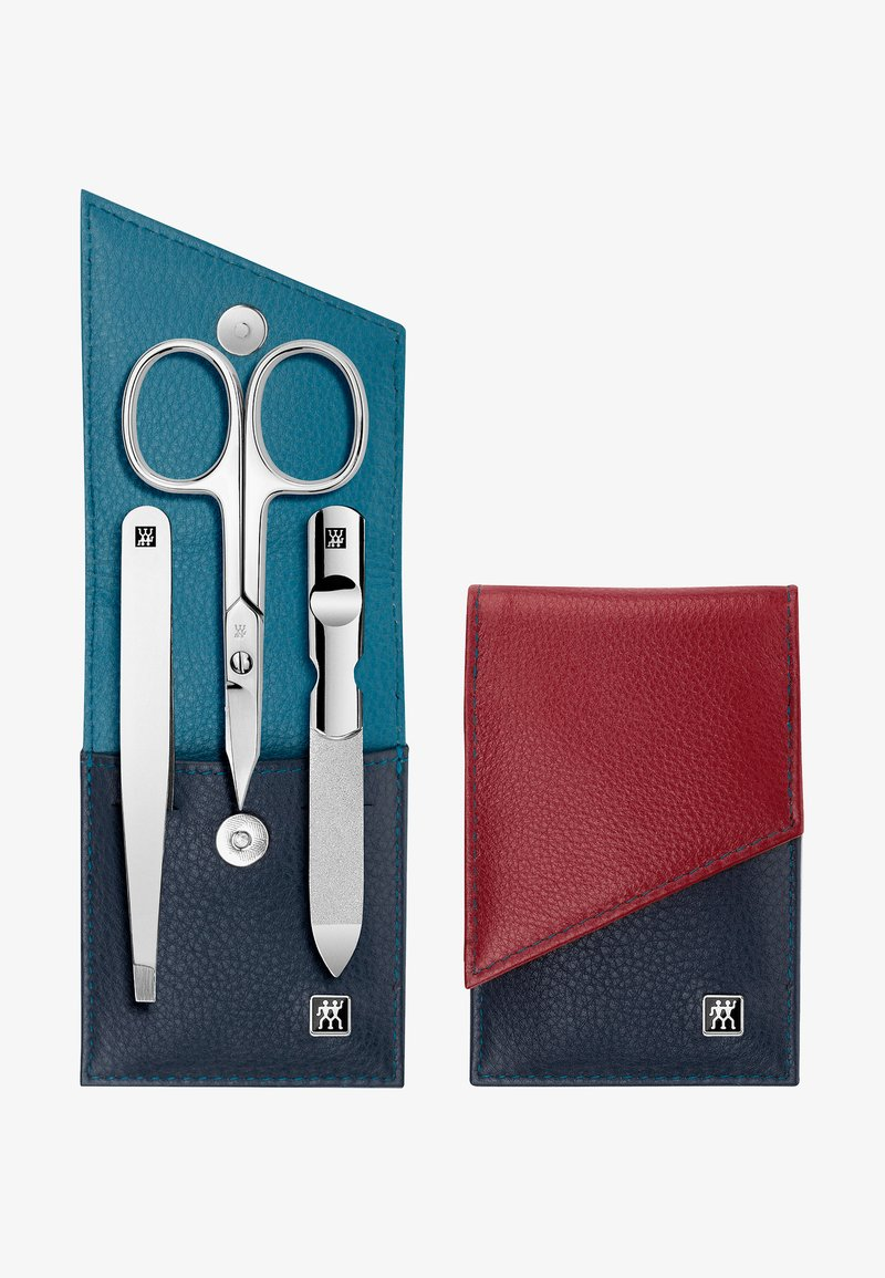 Zwilling - SNAP FASTENER CASE IN CALF LEATHER 3 PIECES - Kit unghie - blue/red