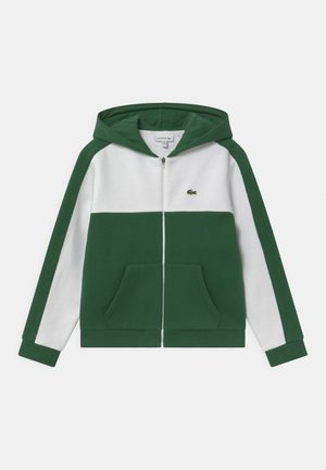 LOGO BLOCK - Mikina na zip - white/green