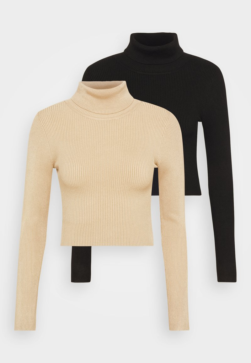 Even&Odd - 2-PACK-CROPPED TURTLE NECK - Jumper - black/sand