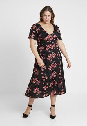 FLORAL BUTTON FRONT DRESS - Shirt dress - black