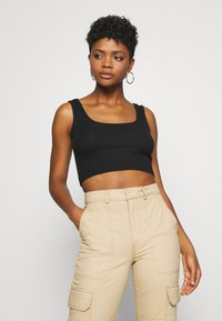 Even&Odd - SQUARE NECK CROP 2 PACK - Top - black/white - 1