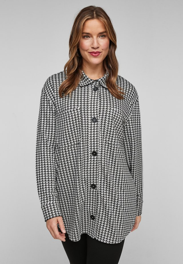Button-down blouse - black houndstooth