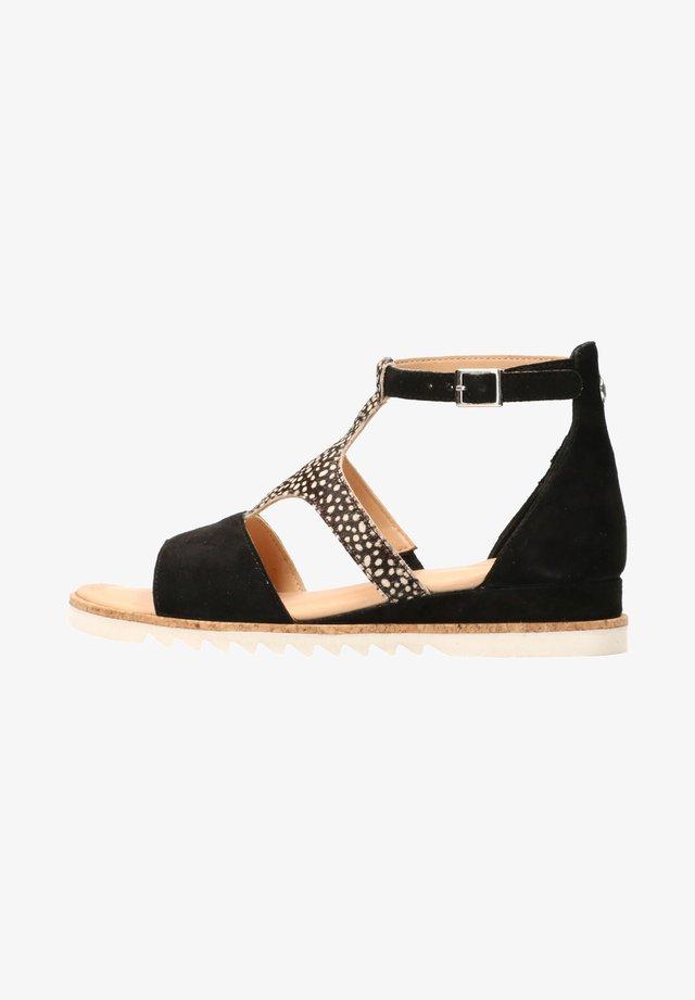 Ankle cuff sandals - black / pixel black