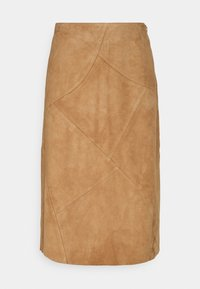 More & More - PATCHED SKIRT - Leather skirt - powder sand - 0