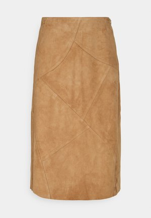 PATCHED SKIRT - Leren rok - powder sand