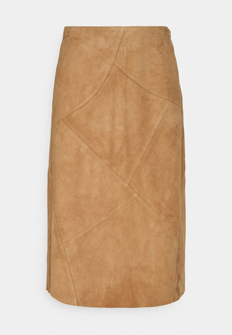 More & More - PATCHED SKIRT - Leather skirt - powder sand