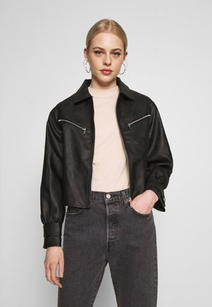 CROPPED ZIP FRONT JACKET - Keinonahkatakki - black