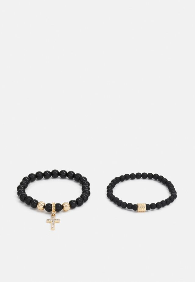 CROSS DROP BEADED 2 PACK - Armband - black