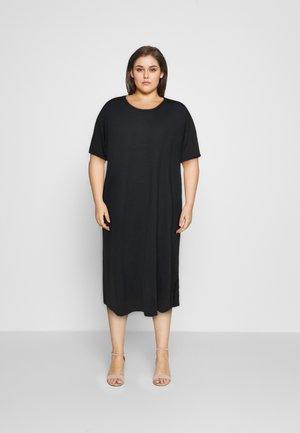SHORT SLEEVE SIDE SPLIT MIDI DRESS - Jersey dress - black