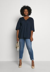 MY TRUE ME TOM TAILOR - LOOSE FIT BLOUSE PLEAT - Bluser - real navy blue - 1