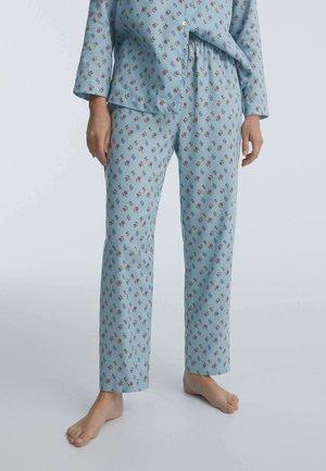 MIT BLUMENPRINT - Pyjama bottoms - turquoise