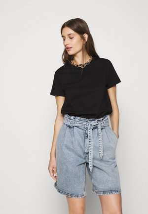 BASIC SHORT SLEEVE TOP - T-shirts - black