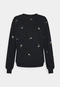 Vero Moda - VMNATALIE EMBROIDERY - Sweatshirt - black/french vanilla/khaki - 0