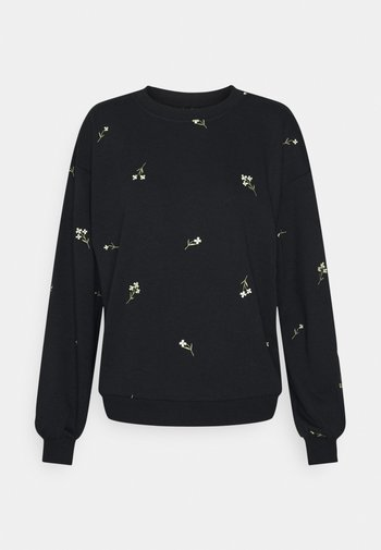 VMNATALIE EMBROIDERY - Sweatshirt - black/french vanilla/khaki