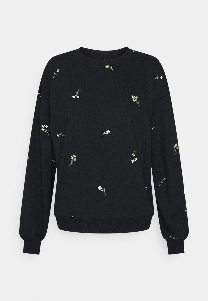Vero Moda - VMNATALIE EMBROIDERY - Sweatshirt - black/french vanilla/khaki
