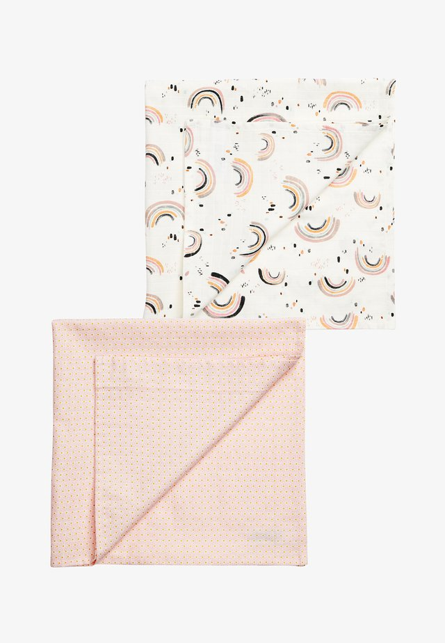 2 PACK PINK GEO AND RAINBOW MUSLIN SQUARES - Muslintæppe - pink