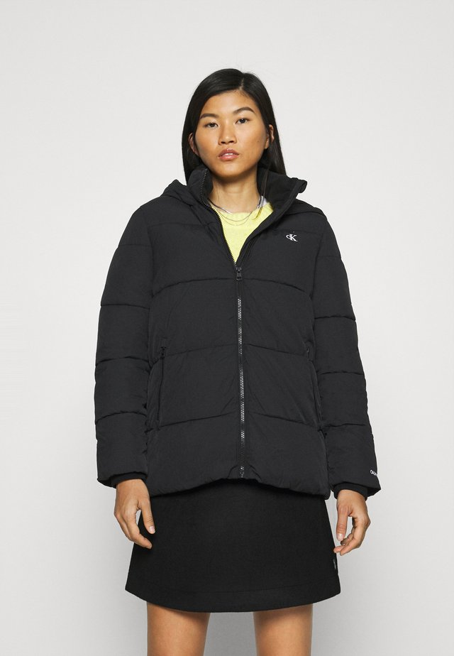 PEACHED HOODED PUFFER - Kurtka zimowa - black