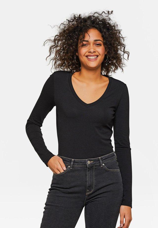 WE FASHION DAMENSHIRT AUS BIO-BAUMWOLLE - T-shirt à manches longues - black