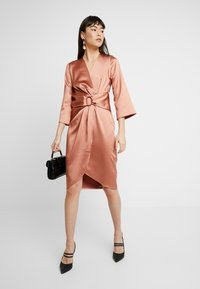 Closet - PLEATED WRAP DRESS - Day dress - rose gold - 2