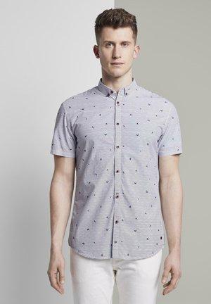 Shirt - white blue stripe mini print