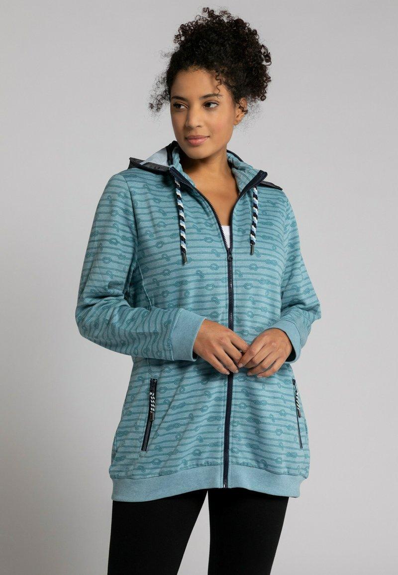 Ulla Popken - GRANDES TAILLES - Zip-up sweatshirt - bleu