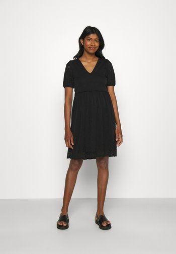 VITAMARA SHORT BRODERI DRESS - Day dress - black