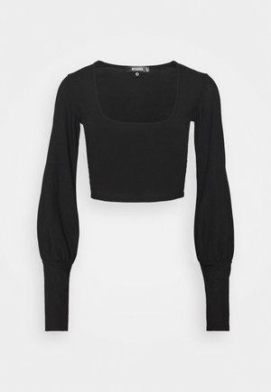 LONG SLEEVE CROP TOP  - Long sleeved top - black