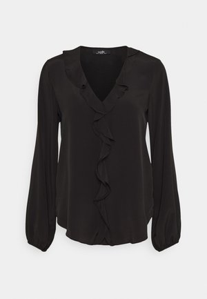 RUFFLE BLOUSON TOP - Blus - black
