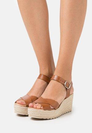 BIADANEEN - Platform sandals - cognac