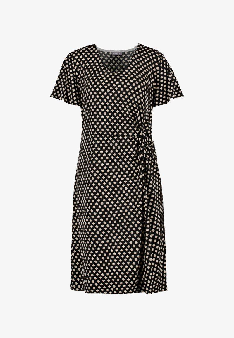 Samoon - MIT SEITLICHER DRAPIERUNG - Jersey dress - black gemustert