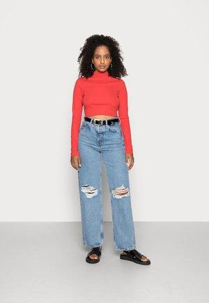 HIGH NECK CROP 2 PACK - Long sleeved top - black/red