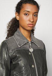Diesel - LYLE JACKET - Leather jacket - black/grey - 6