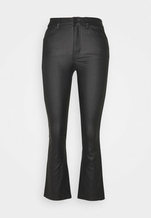 OBJBELLE COATED FLARED - Flared Jeans - black