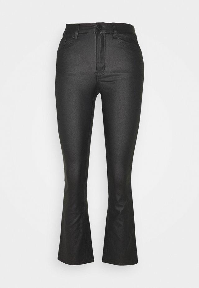 OBJBELLE COATED FLARED - Flared Jeans - black