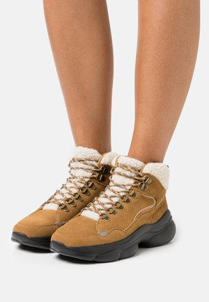 LEATHER - High-top trainers - brown
