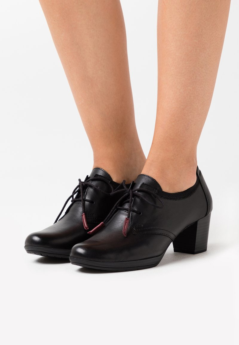 Marco Tozzi - LACE UP - Ankle boots - black antic