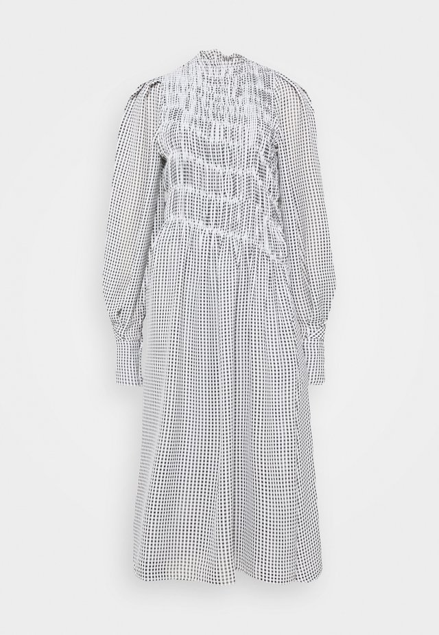 LONG SLEEVE SMOCKED MIDI - Day dress - black/white