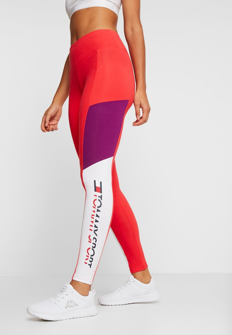 Tommy Sport - BLOCKED LOGO - Leggings - red