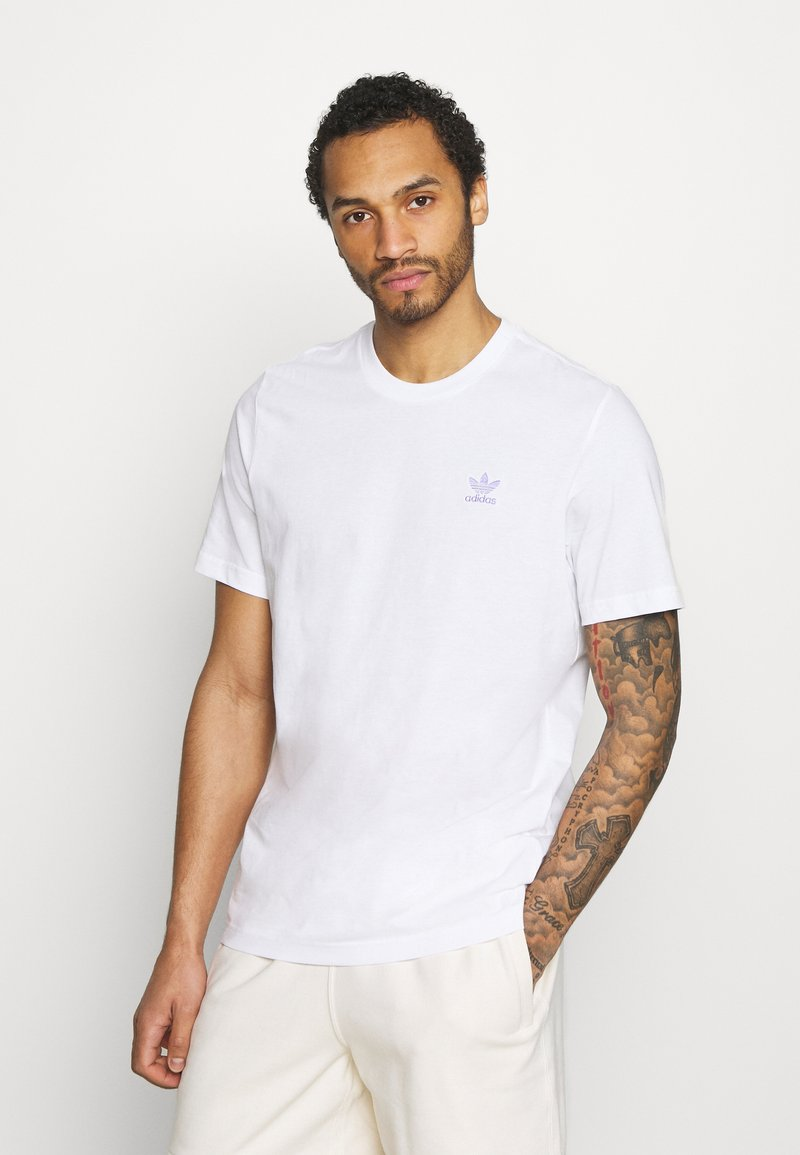 adidas Originals - ESSENTIAL TEE UNISEX - Basic T-shirt - white/light purple